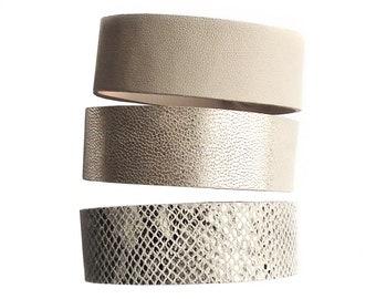 Leather bracelet cuff set snakeskin beige