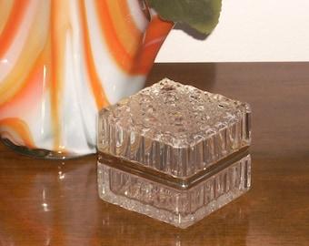 Vintage Crystal Glass Jewelry Casket