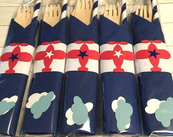 Airplane Party, Airplane Decorations, Airplane Party Supplies, Airplane Napkins, Airplane Birthday, Airplane Theme Decor, Party Cutlery