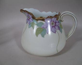 Antique PT TIRSCHENREUTH Bavaria Transferware Clematis Porcelain Pitcher Jug