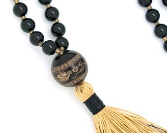 Dragon Phoenix Mala, 108 bead, with obsidian & antique amber guru bead