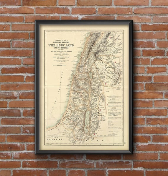 Holy Land map 1872 Map of Palestine Biblical Regions Antique Restoration Hardware Style Jerusalem Wall Map Vintage Map Home Decor Gift Idea