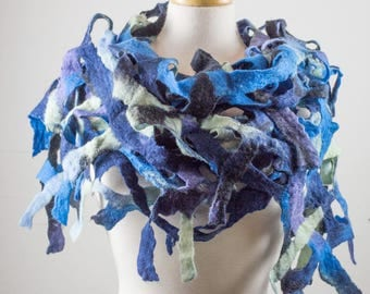 Felted Scarf, Grid, merino wool, Navy blue, light blue, green, multi colour, Lace, Hole, lattice scarf, felt, wet felt,