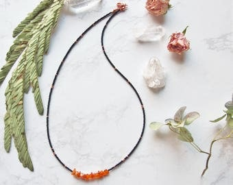 Beaded Amber Chip Necklace