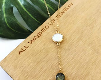 New! // Coin Pearl Labradorite Lariat Necklace