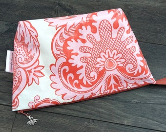 Blush Pink Floral Wipe Clean Wash Bag, water resistant zipped toiletry bag, Mothers Day gift