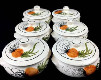 Hand Painted French Onion Soup Bowl Set w/Lids Crafted in Brazil