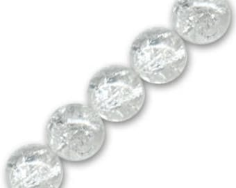 10 x 6 mm clear Crackle Glass round beads