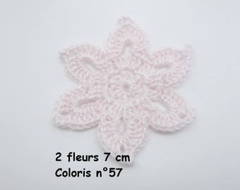 Set of 2 flowers crocheted colour No. 57 (7 cm)
