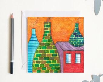 Orange Sky Potteries Stoke Greetings Card