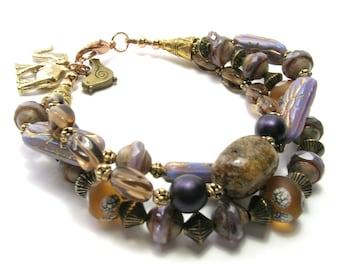 Purple Multi-Strand Bracelet w/ Elephant - Handmade Bracelets