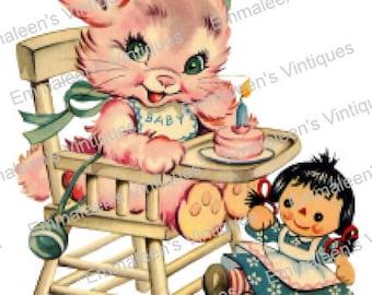 Vintage Nursery Baby Pink Bunny In Highchair Waterslide Decals AN504