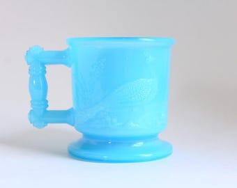 Boyd's Glass, Child's Mug, Blue Child's Mug, Peacock & Crane, Peacock Child's Mug Crane Child's Mug Blue Glass Child's Mug Glass Child's Mug