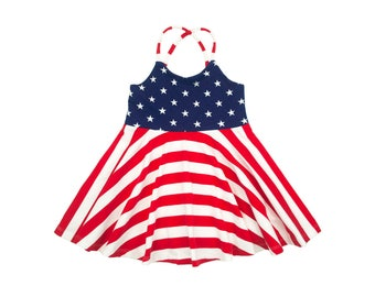 RTS Size 5 Festival Dress, Girls Dress, Baby Dress, Toddler Dress, Stars and Stripes 4th of July Fourth