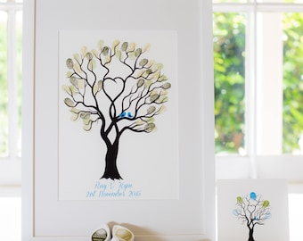 Giclée Guest book The Fingerprint Tree® Unity Tree - Blue Birds, wedding guestbook, guestbook, premium guestbook, guest book, unity tree
