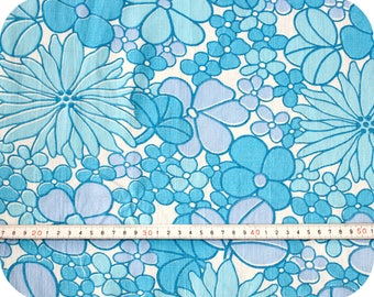 Floral retro vintage fabric - blue, turquoise and white