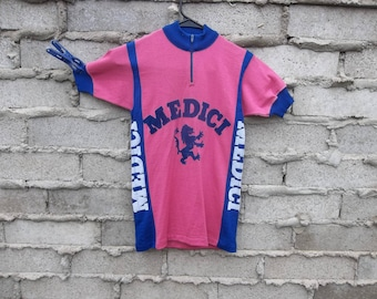 Vintage Cycling Jersey Italy Medici 1970s 60s Jersey Knit Appliqué Font Logo Double Sided Preppy Grunge Athletic Sports Rare T Shirt Top