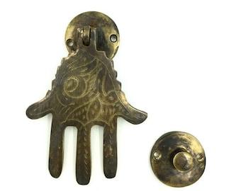 Vintage Brass Moroccan Hand of Fatima Door Knocker