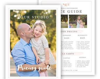 Photography Price List template, photography sell sheet, pricing template for photographers, price guide template