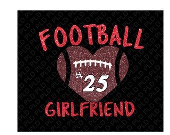 Football mom/ sister/ girlfriend glitter shirt