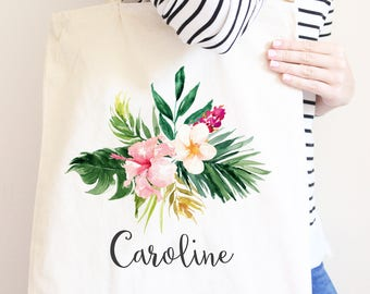 Personalized Canvas Tote Bag, Tropical Flower Summer Design