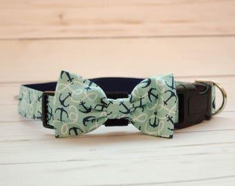 Anchor's Away Blue Dog Bow Tie Collar