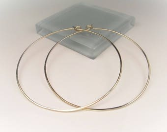 "1"" to 3"" Gold/Rose Gold/Silver Hoops,  Hammered or Smooth Finish, 1mm Thick Large Hoop Earrings, Simple Thin Hoops, Classic Gold Hoops"