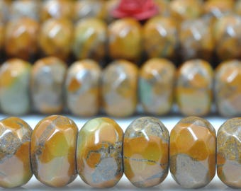 75 pcs of Natural Yellow Leopardskin Jasper faceted rondelle beads in 5X8mm (06495#)