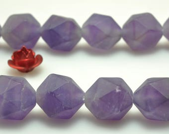 A Grade--37 Pcs of Natural Amethyst Faceted and matte nugget beads in 10mm (06844#)