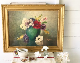 A lovely antique French floral print of poppies in an emerald green vase