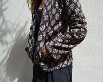 Vintage Phool dark blue black Indian cotton jacket coat with block print XS
