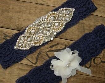 Something Blue, Navy Blue Wedding Garters, Crystal Rhinestone &Pearl / Vintage Inspired Garter /Vintage Lace Garter / Navy Blue/Ivory/Gold