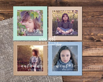 White Set for Seasons Mini Sessions Template for Photographers 5x5