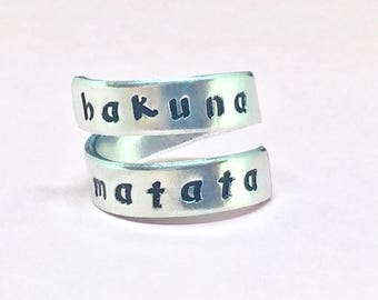 Hakuna Matata Lion King Inspired Twist Ring - Heart Inside Aluminum Wrap Ring - Style C - handed stamped Ring