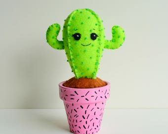 100% Acrylic Felt Darling Cactus in a Pot- Pin Cushion- Ornament