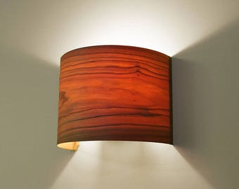 "Wall Light, Veneer Wall Lamp, Bedside lamp, Bedside light, Night Light, Natural Minimalist Style, Cherry ""Arc"""