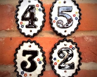 Ceramic House Numbers - 1 - 19:  Frostproof