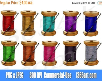 50% OFF Sewing Clip art, Sewing graphics, needle and thread clipart, hand drawn, scrapbooking, invitations, hand drawn, PNG, commercial