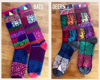 Hand knitted multicolored long socks,Peruvian Treasures,Unisex Peru vian knitted socks,Wool mixed fibers socks,warm hand made socks