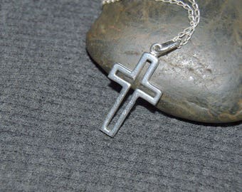 sterling silver cross necklace, catholic gift, christian jewelry, open cross necklace, confirmation gift, first communion, large cross