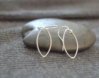 tiny teardrop earrings, sterling silver dainty earrings, silver minimalist earrings, small dangle earrings, wire teardrop earrings
