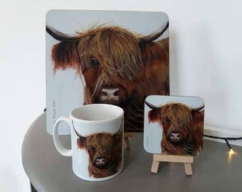 Highland Cow, 'Windy Day', table set. consisting of mug, place mat and coaster. ideal for breakfast, lunch or dinner.