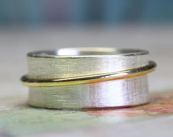 925 Silver Spinner Ring, Rotating ring Orbit 8.5mm from 925 silver 333 yellow gold, silver ring with movable gold ring, bandring