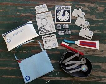 Vinyl Toy Dentist Bag and Kit , Dress Up , Pretend Play , Vinyl Dentist Play Set