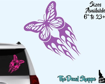 Butterfly Vinyl Decal Sticker -15+ Color Choices- Tribal Flames