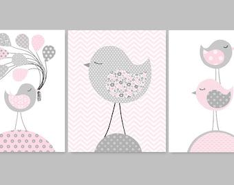 Bird Nursery Art, Grey and Pink Nursery Decor, Girl's Room Decor, Girl Nursery Art, Baby Girl Decor, Chevron, Baby Shower Gift, Canvas