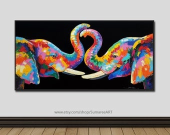 48 x 98 cm, Elephant Painting,wall decor