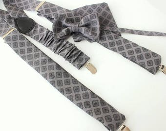 Suspender with bow tie and handkerchief or ascot, grau-black,smale design