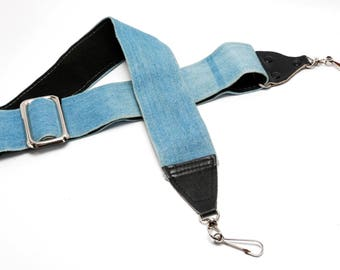 """Hippy Denim Camera Strap from 1960s/70s- 2""""  Wide Strap - 30"""" - 76cm Long"""