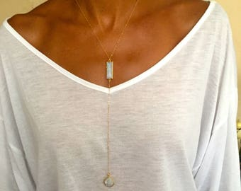 Y necklace- Moonstone y necklace- gold filled Y necklace- simple necklace